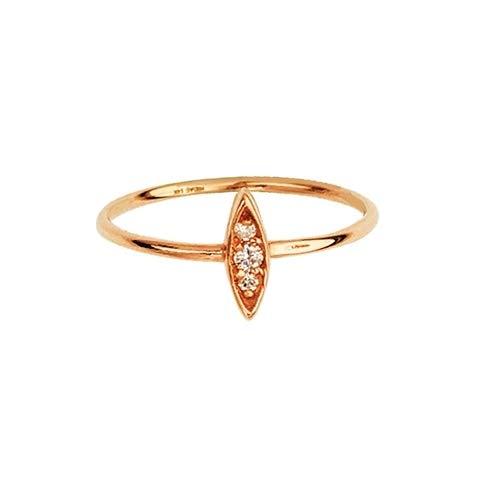 14k Rose Gold 0.05 Dwt Diamond Drop Marque Diamond Cluster Ring - Size 7 (Marque Diamond Ring)