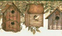 Birdhouses Wallpaper Border - Brown Birds Birdhouses Leaves Wallpaper Border Retro Design, Roll 15' x 6.25''