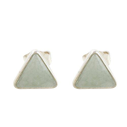 NOVICA Jade .925 Sterling Silver Stud Earrings, Triangle Allure'