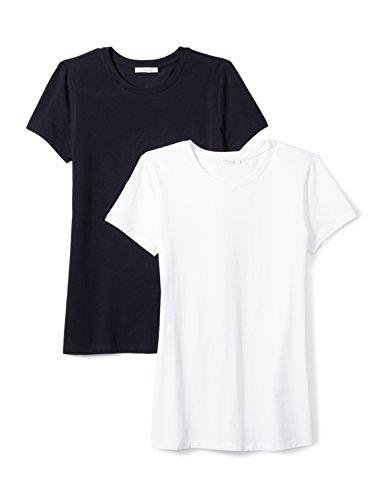 Daily Ritual Women's Stretch Supima Short-Sleeve Crew Neck T-Shirt, White/Navy, Medium ()
