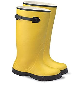 """64055846 17"""" Rubber Over the Shoe Boots Ribbed Outsole Size 13 Yellow"""