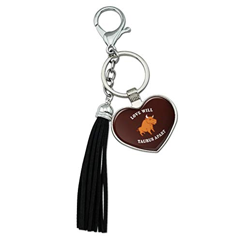 Graphics and More Love Will Taurus Apart Zodiac Bull Tear Us Funny Humor Chrome Plated Metal Heart Leather Tassel Keychain