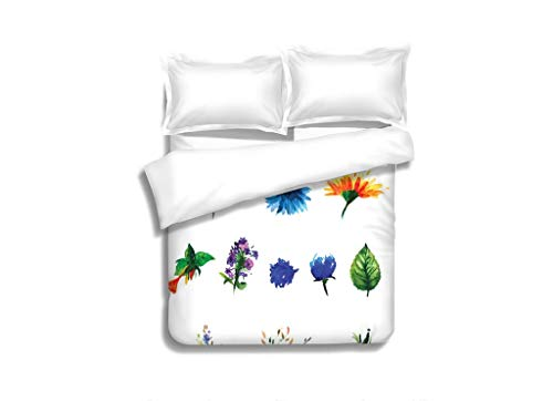 - MTSJTliangwan Family Bed Vector Floral Set Collection with Leaves Spring or Summer Design for Invitation Wedding or 3 Piece Bedding Set with Pillow Shams, Queen/Full, Dark Orange White Teal Coral