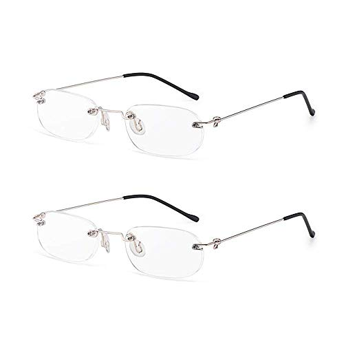 Lightweight Rimless Reading Glasses 2 Pairs Ultra Thin Frame Readers Spring Hinged Crystal Clear Lenses Eyeglasses for Men Women, 2.00 Strength from KoKoBin