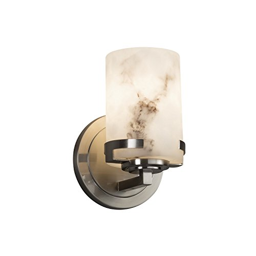 LumenAria - Atlas 1-Light Wall Sconce - Cylinder with Flat Rim Faux Alabaster Shade - Brushed Nickel Finish - - Faux Alabaster