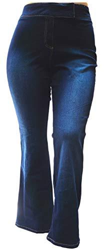Jack David Pasion Womens Plus Size Curvy Stretch Relaxed Fit Flap Pocket Straight Leg/Bootcut Denim Jeans Pants (Bootcut Lazer Blue L1000420, 18) ()