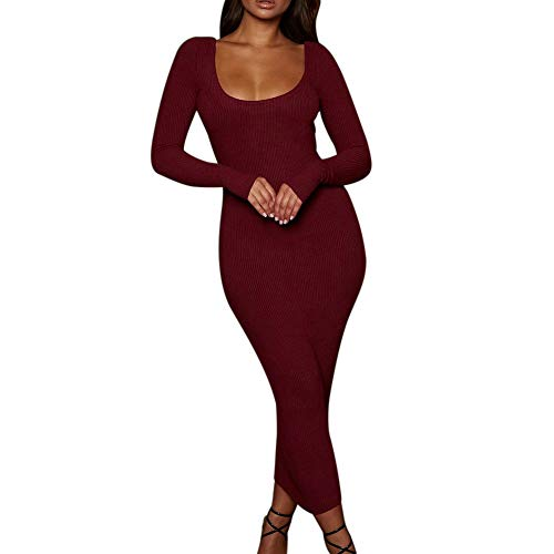 HYIRI✈Elegant Solid Sexy Bodycon Backless Dress,Women's Hollow Out Long Evening Party Night Club Dress
