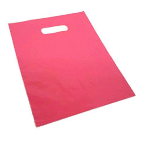 "9"" X 12"" Various colors goody bag, merchandise bag, store supply bags, path handle bag (Pink-50pcs)"