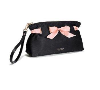 Victoria's Secret Cosmetics Satin Pouch Black Pink Ribbon (Bag Cosmetic Victoria Pink Secret)