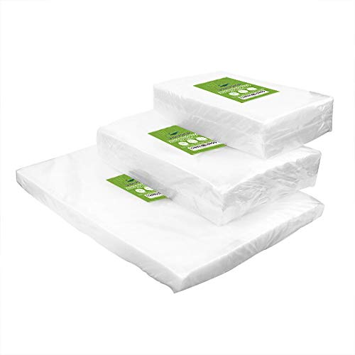 """VacYaYa 150 CountVacuum Sealer Bags 50 Each Size Pint 6""""x 10""""Quart 8""""x12""""Gallon11""""x16"""" for Food Saver, Vac Seal a Meal Bags with BPA Free, Heavy Duty Sous Vide Vaccume Seal Safe PreCut Bag"""