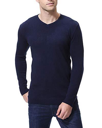 Blu collo Manica V Slim Caldo Fit Maglieria Marino Pullover Maglione Lunga Casual Uomo wPq41xZHw