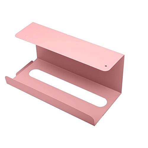 QWEER Upside Down Kitchen Paper Towel Rack Free Punching Home Creative Rack Wrought Iron Paper Rack Wall Hanging Tray Cabinet Simple Atmospheric Iron Paper Towel Rack (Color : Pink)
