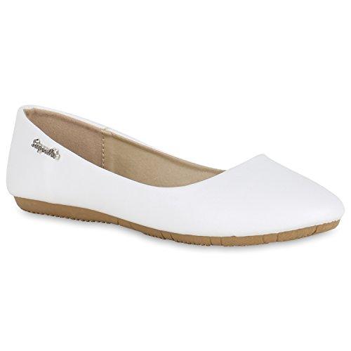 Klassische Damen Ballerinas Leder-Optik Flats Schuhe Übergrößen Flache Slipper Spitze Prints Strass Flandell Weiß