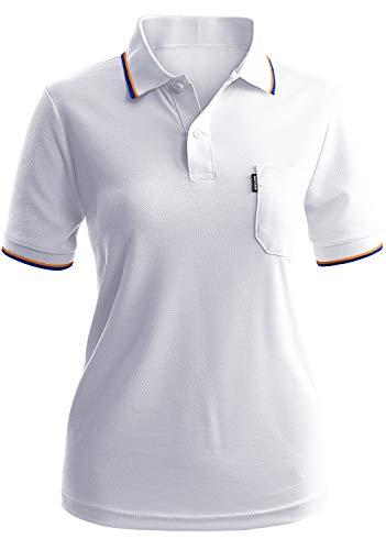CLOVERY Women's Golf Wear Moisture Wicking Short Sleeve Button Polo Shirt White XL