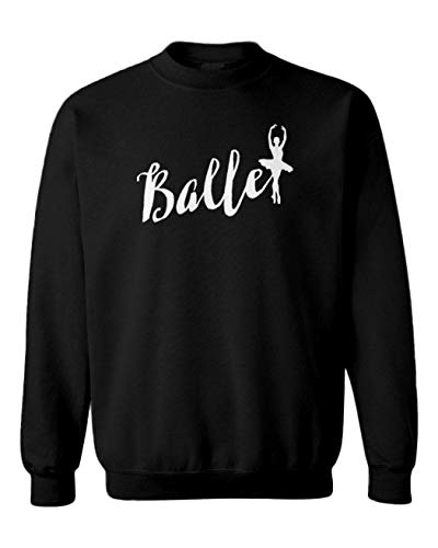 Ballet - Dancing Silhouette Dance Toddler Fleece Crewneck Sweater (Black, 5T/6T)