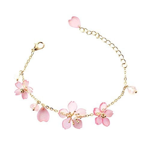 (Noopvan 1x Fashion Simple Lady Bracelet Cherry Blossom Pendant Bracelet Anklet Cute 3D Transparent Adjustable Bracelet Jewellery (Pink))