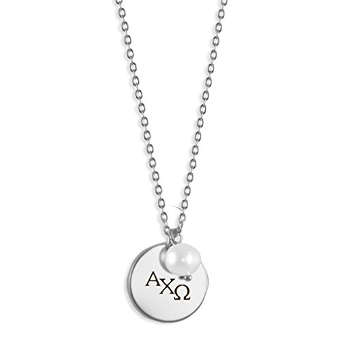 A-List Greek Sorority Necklace - Custom Engraved Alpha Chi Omega Disc Charm Pearl Drop Necklaces | Silver Plated Jewelry for Women - Ideal for Big and Little Sister Gifts