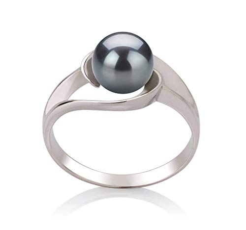 Clare Black 6-7mm AAA Quality Freshwater 925 Sterling Silver Cultured Pearl Ring For Women - Size-8