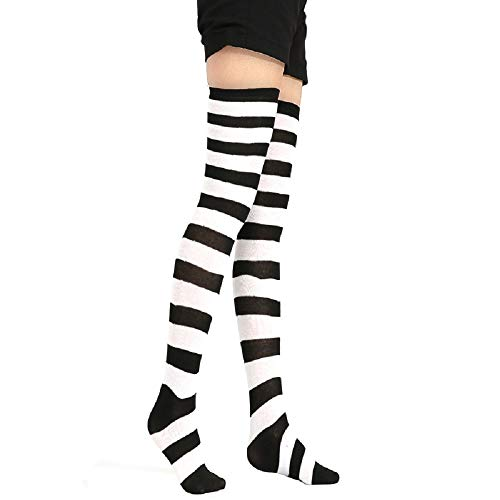 (Womens Girls Long Striped Over Knee Thigh High Socks Fun Cute Crazy School Party Cosplay Custume Cotton Stockings, White+Black)