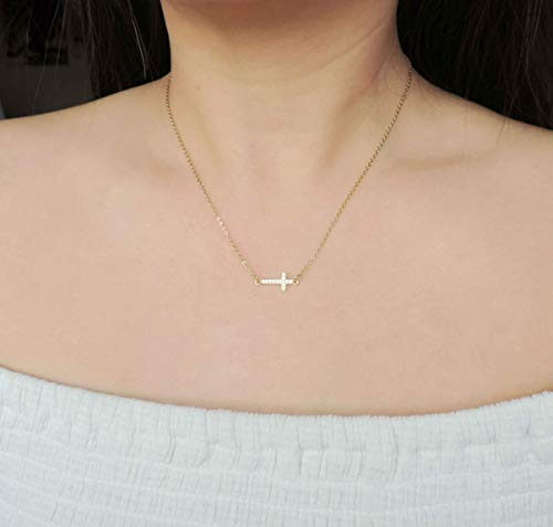 - CZ Diamond Sideways Gold Cross Necklace • Encrusted CZ Cross 18K Gold Vermeil Necklace • Baptism, Religious Everyday Necklaces, Gift for Mom