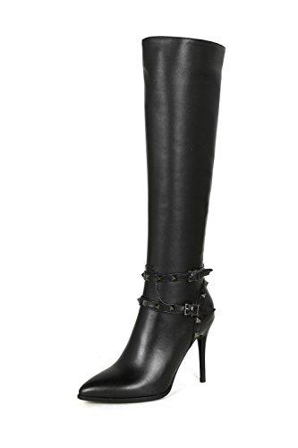 Ladies Zip Pointed toe Stiletto Genuine leather Sexy Buckle strap Women boots Fashion High heels Black Knee-high Boots Black wqxiH4HWN