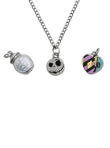 The Nightmare Before Christmas Deadly Nightshade Jar, Jack Face, Sally Heart Multi-Charm Necklace ()