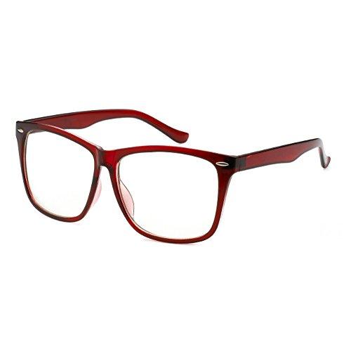 Oversize Wayfarer Punk Men Women Korean Style Fashion Cosplay Clear Lens Glasses (Big Frame - Glasses Brown Big