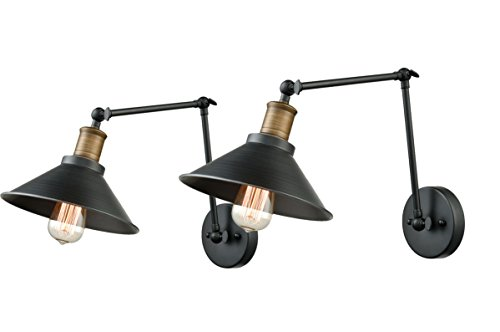 Bronze Double Arm Sconce - Dazhuan Simplicity Double Wall Sconce Lighting Black Metal Wall Light Swing Arm Lamp Wall Fixture, 2 Pack