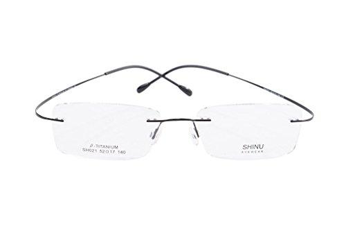 - SHINU Titanium Frame Glasses Prescription Lens Eyeglasses Metal Rimless for Men Rxable-SH021(black,demo lens)