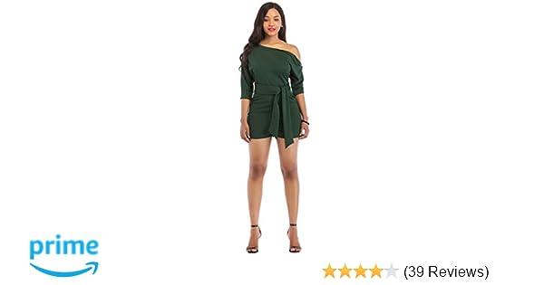 484360aff6c Amazon.com  One Shoulder Jumpsuits for Women Elegant Night Sexy Casual Summer  Rompers Dress Wide Leg Shorts Long Pants Belt Pockets  Clothing