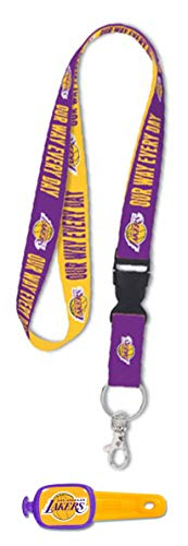 WinCraft Bundle 2 Items: Los Angeles LA Lakers 1 Premium Lanyard 1 Stwrap Bag Id