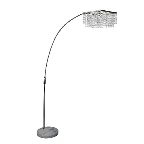 CO-Z Crystal Shade Modern Arch Floor Lamp, Adjustable Contemporary Floor Lamp with Natural Marble Base, Satin Nickle Arched Lighting Fixture for Living Room - Lamp Floor Marble Base