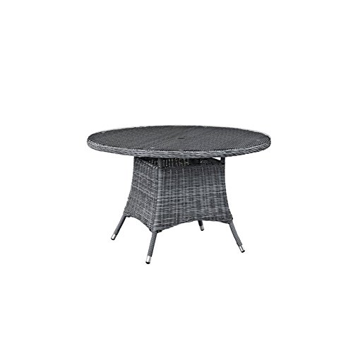 Cheap Kitchen & Dining Features modway summon round outdoor patio glass top round dining table 47 grey
