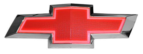 (Illuminated Light Up LED Front Grille Bowtie Textured Emblem (Red, Red) Fits 2010-15 Chevy Camaro)