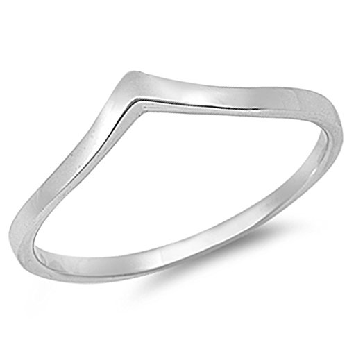 Oxford Diamond Co Solid V-Shape Chevron Stackable Thumb Ring Fashion .925 Sterling Silver Ring Size -