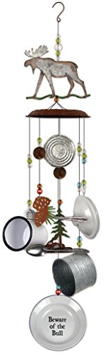 Sunset Vista Designs 14764 Moose and Dishes Metal Wind Chime, Galvanized