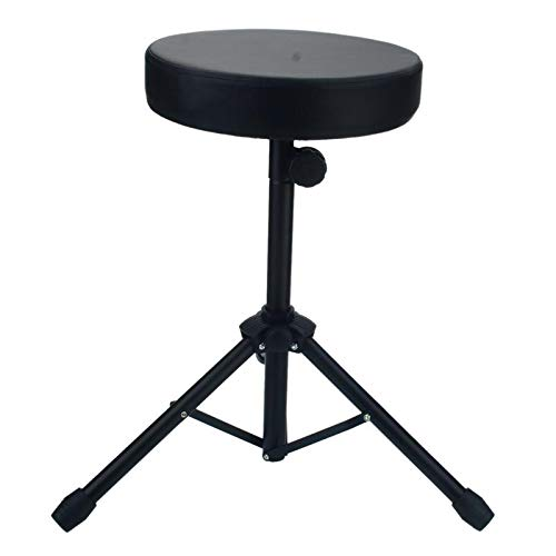 (Sala-Fnt - Folding Round Throne Tripod Stainless Steel Double Braced Drum Seat Stool Drumming Percussion Instrument Chair Seat Stand)