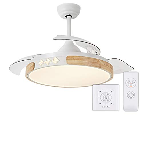 (XLOO Nordic 42'' Ceiling Fan Light LED Integrated tri-Color lamp with Remote Control Speed Adjustment ABS Stealth 3 Blade for Living Room Bedroom Dining Room Decoration Chandelier)