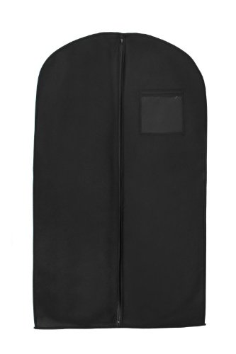 Bags for Less Black Suit & Dress Travel & Storage Garment Bag Durable, Rip Resistant, Repellent, Breathable Material- 24''x40'' – Practical Clear Square ID Window Pocket