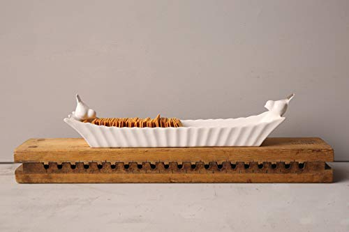 Creative Co-Op Long White Ceramic Cracker Dish with Two Birds by Creative Co-op (Image #2)
