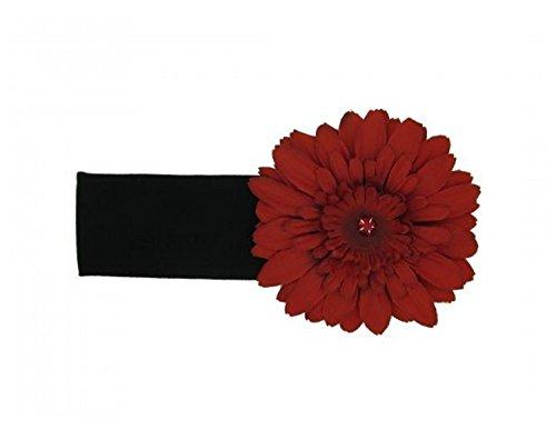 Headband Jamie Rae Hats - Jamie Rae Hats Black Soft Headband with Red Daisy, Size: 0-12m