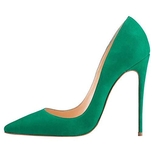 Fericzot Fashion High Heels Pumps Sexy Women's Pointed Toe Slip On Stiletto Pumps Evening Party Basic Shoes Plus Size Green-Suede 7.5M ()