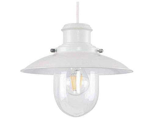 (Ceiling Lights Lamps Chandeliers Pendant Light Fixtures Cool Grey Metal and Glass Fisherman's Vintage Style Lantern Easy Fit Ceiling Lamp Pendant - Complete with a 8W Led Filament Gls Bulb [2700K War)