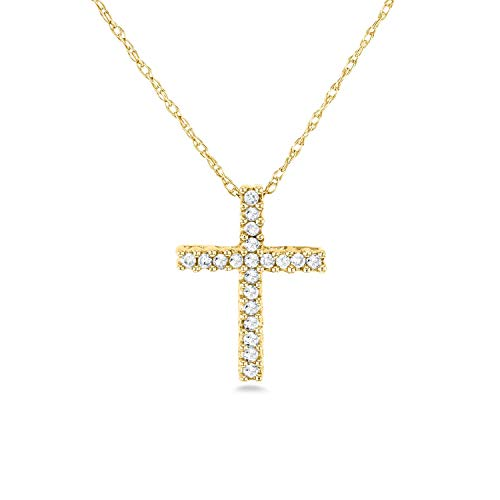 Diamond Cross Necklace 1/10 Carat TDW Shared Prongs in 10k Gold, Yellow