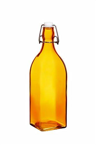 Colorful Reusable Glass Water Bottles With Swing Top Leakproof Cap, 1L / 34oz, Flowersea Glasss Water Bottle for Oil, Vinegar, Beverages, Beer, Water, Kombucha, Kefir, Soda (Orange, Square)