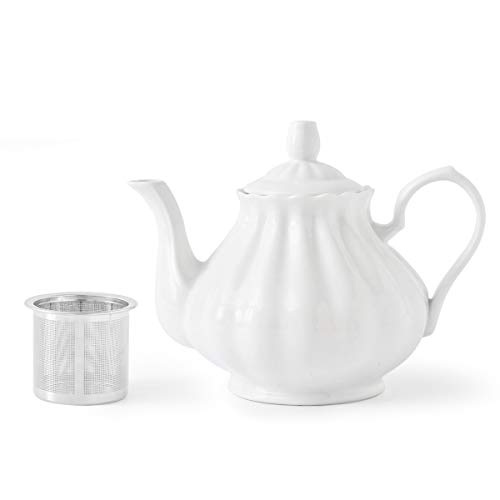 Pumpkin Shape Ceramic - Porcelain Teapot with Infusers 31 OZ White Ceramic Tea Pot Pumpkin Fluted Shape