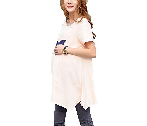 Orlo Taglie Maternity T Cintura per SUNVOOL Forti Bluse Shirt Manica Top Donna Irregolare Stampa Pink Butterfly Gravidanza Maglietta Maglietta Femminili Corta PYIa6