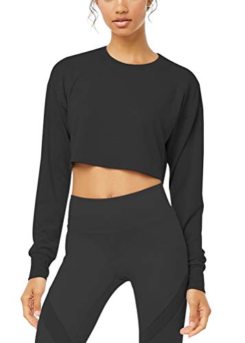 Mippo Womens Workout Crop Top Athletic Tops Long Sleeve Workout Shirts Gym Tops Running Sports Tanks Exercise Clothes Thumb Hole Tops for Women Activewear Black ()