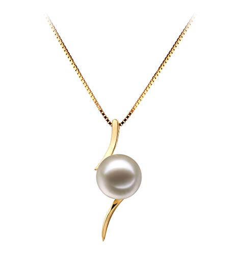 Lanella White 6-7mm AAAA Quality Freshwater 14K Yellow Gold Cultured Pearl Pendant For Women