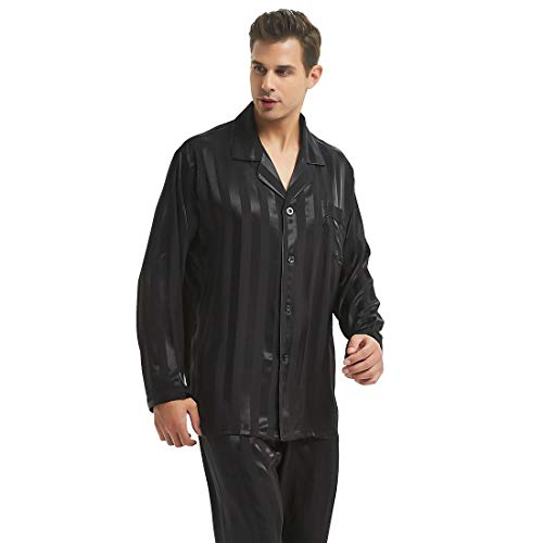 Mens Silk Satin Pajamas Set Sleepwear Loungewear Black - Pajamas Black Silk
